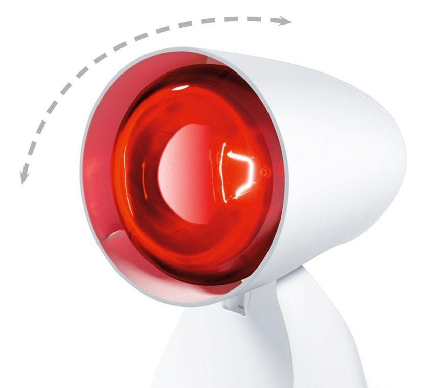 La testa della lampada a infrarossi BEURER IL 11 ha ben 5 livelli di inclinazione, regolabili secondo le vostre esigenze