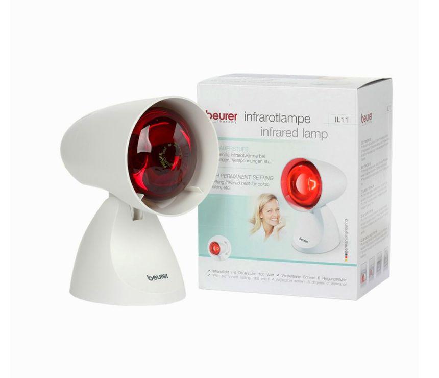 La lampada a infrarossi per terapia del calore BEURER IL 11 accanto alla confezione così come vi arriverà a casa