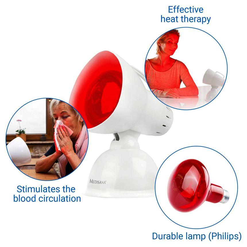 La lampada a infrarossi MEDISANA IR 100 è un dispositivo medico per la terapia del calore, stimola la circolazione sanguigna, rilassa la muscolatura e aiuta a combattere i malesseri stagionali