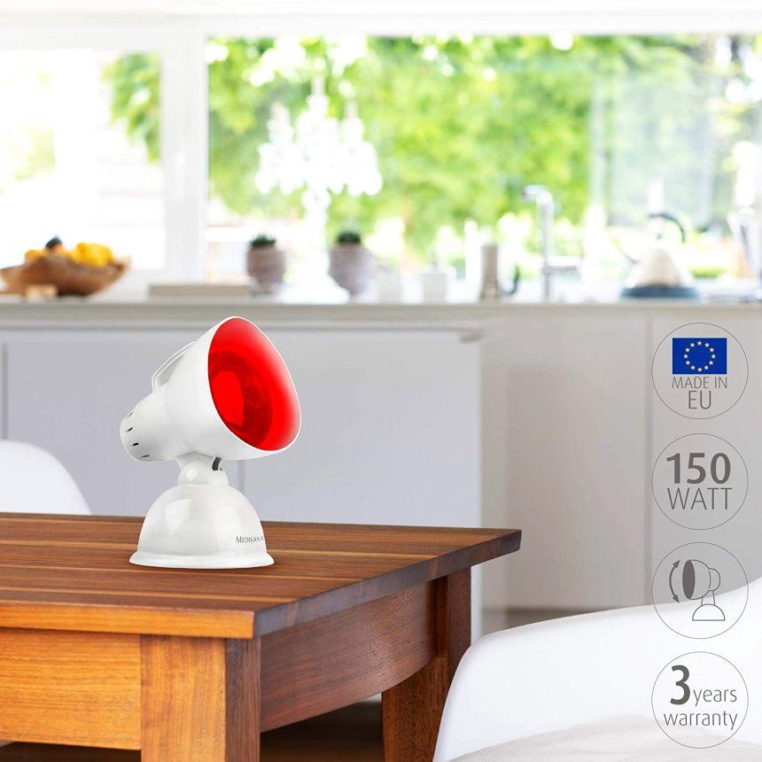 La lampada a infrarossi MEDISANA IR 100 è piccola e potente, ideale per combattere raffreddori, tensioni, crampi, dolori muscolari, disturbi reumatici, oltre che il trattamento di malattie di orecchie, naso e gola