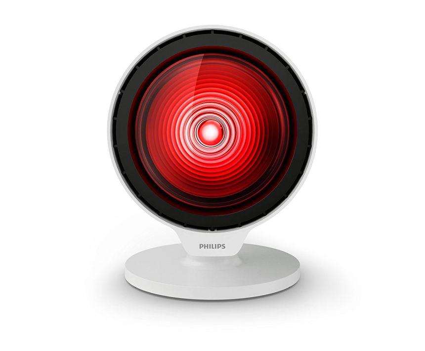 Compatta ed efficace: vista frontale della lampada a infrarossi per terapia del calore PHILIPS InfraCare PR3110/00 da 150W