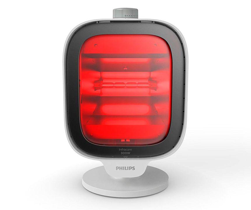 Vista frontale della lampada a infrarossi per terapia del calore PHILIPS InfraCare PR3120/00 da 300W (notare l'ampio schermo irradiante che riesce a curare un'area corporea di ben 30 x 40 cm)