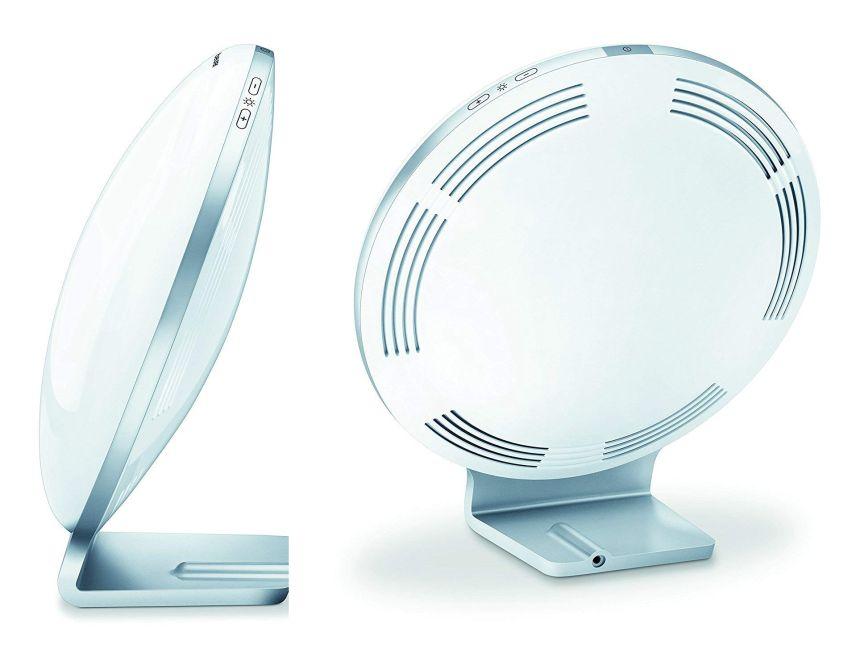 Vista laterale e posteriore della lampada a luce diurna BEURER TL 100 (notare i tasti di regolazione della luminosità in alto)