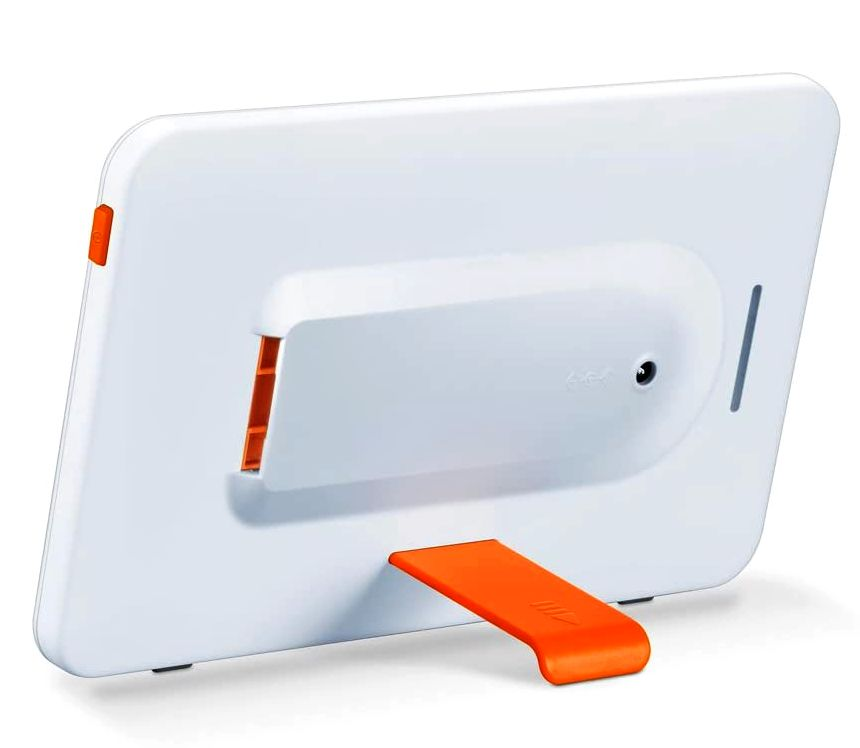 Vista posteriore della lampada di luce naturale del giorno BEURER TL 20 con tecnologia a LED (notare il supporto arancione per il posizionamento verticale o orizzontale, in base alle vostre esigenze del momento)