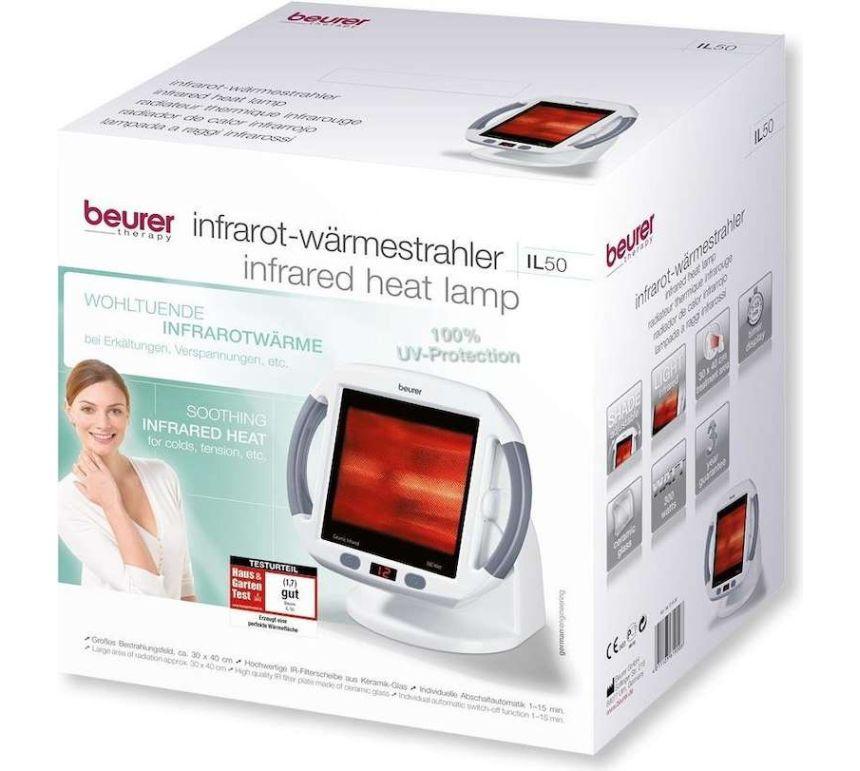 La confezione del radiatore termico a raggi infrarossi per terapia del calore BEURER IL 50 così come vi arriverà a casa