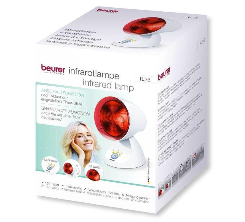 La confezione della lampada a raggi infrarossi per terapia del calore BEURER IL 35 così come vi arriverà a casa